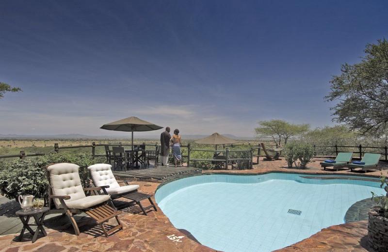 Outdoor pool at Kirawira Camp.