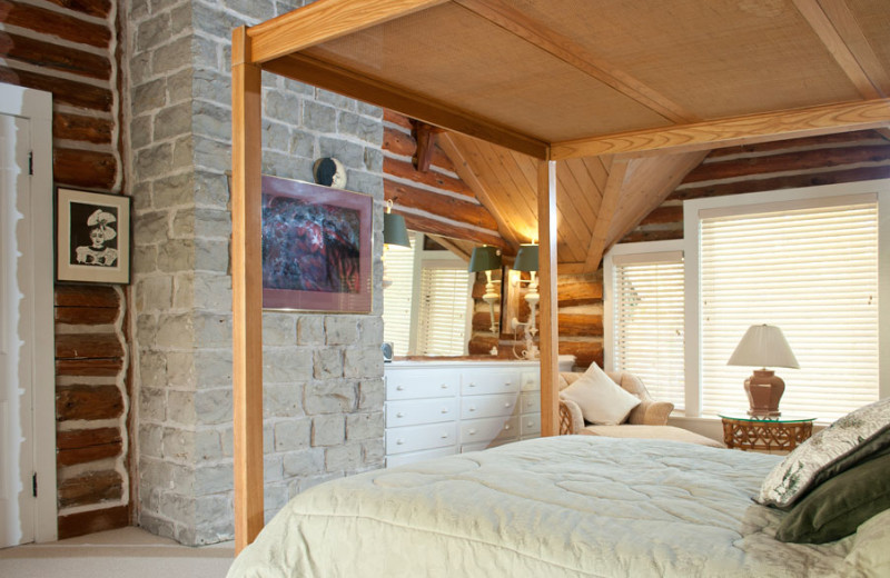 Cottage bedroom at The Shallows Resort.