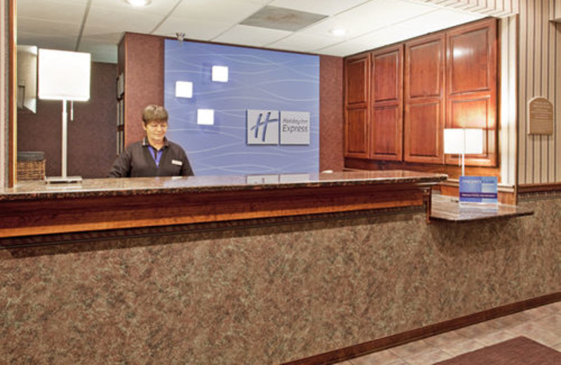 Front desk at Holiday Inn Express Osage Beach.