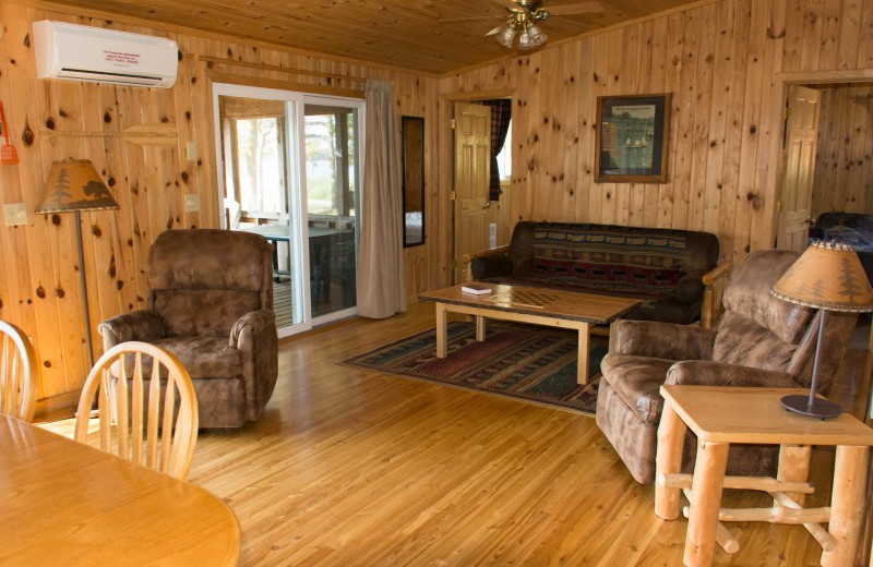 Cabin living room at Bear Paw Resort.