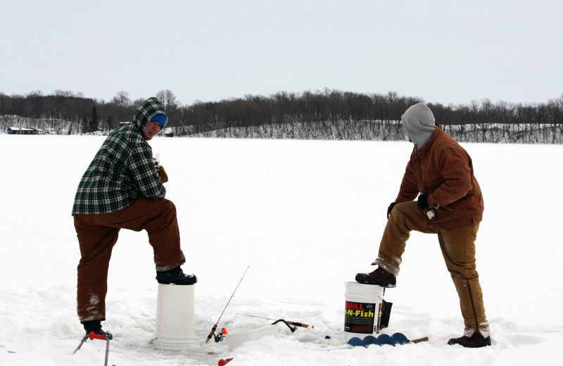 Ice fishing at East Silent Lake Resort.