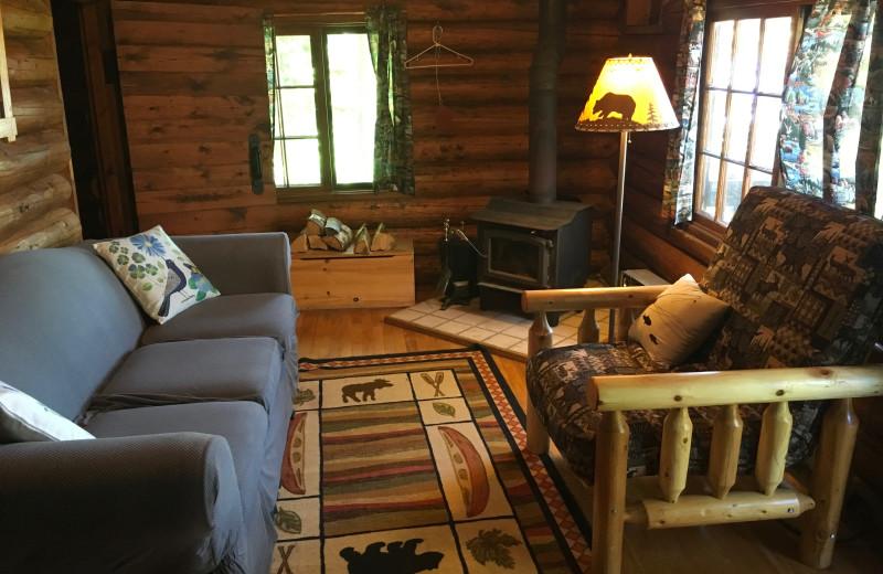 Cabin living room at Loon Lake Lodge.