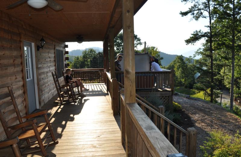 Cabin deck at Rock Creek Cabins.