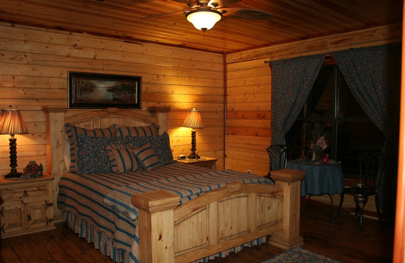 Cabin bedroom at Lake Mountain Cabins.