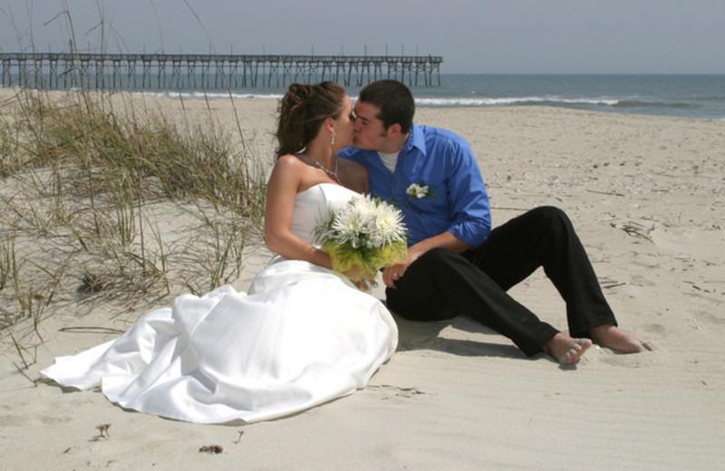 Wedding on the beach at Ocean Isle Inn.