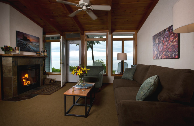 Guest living room at Bluefin Bay on Lake Superior.