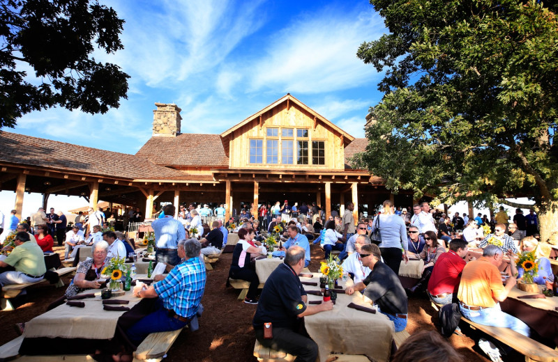 A Large Outdoor Eating Area at Big Cedar Lodge