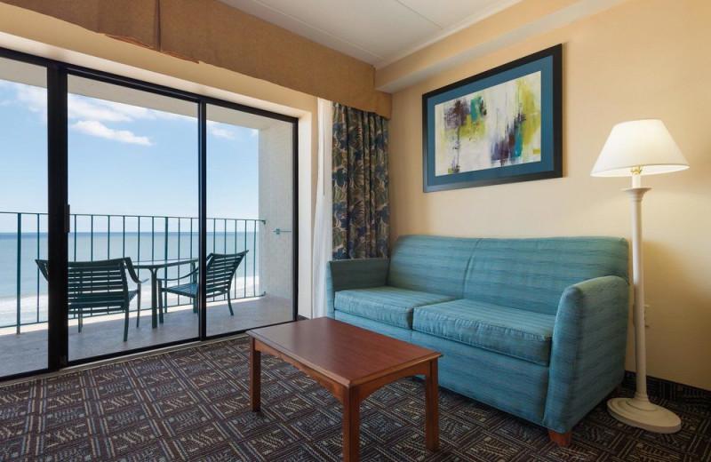 Guest room at Quality Inn Boardwalk Ocean City.
