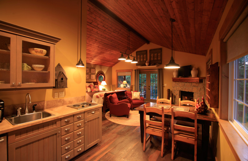Cabin kitchen and dining area at Morrell Ranch.