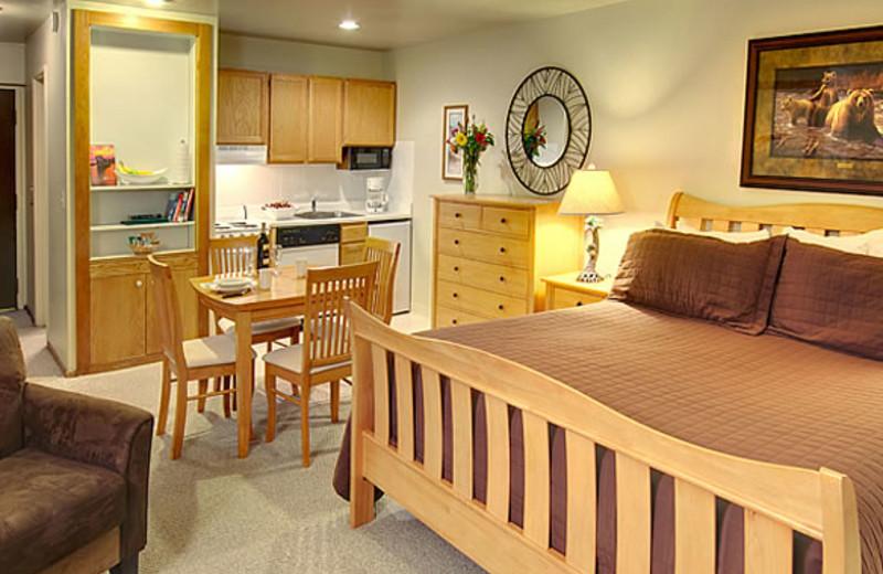 Condo bedroom at Aston Lakeland Village.