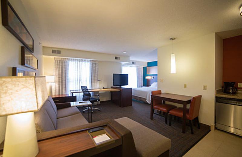 Guest room at Residence Inn Detroit Livonia.