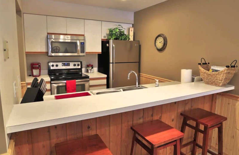Guest kitchen at Trout Creek Vacation Condominiums.