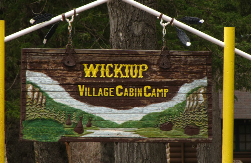 Sign at Wickiup Village Cabins.