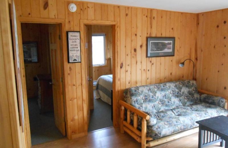 Cabin bedroom at Hidden Haven Resort and Campground.