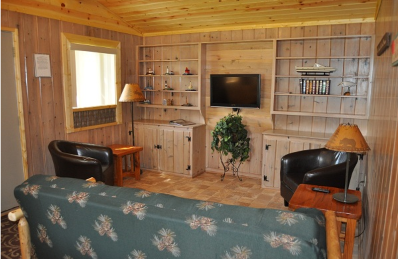 Cottage living room at Shady Grove Resort.