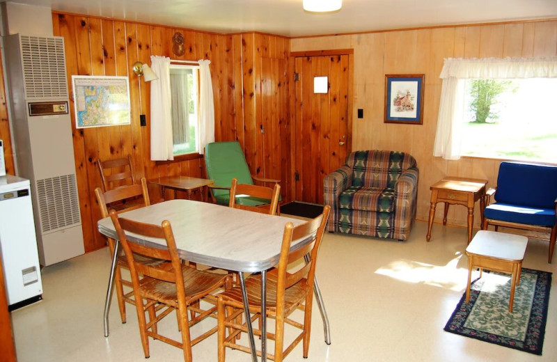 Cottage interior at Fisher's Lakeside Cottages.