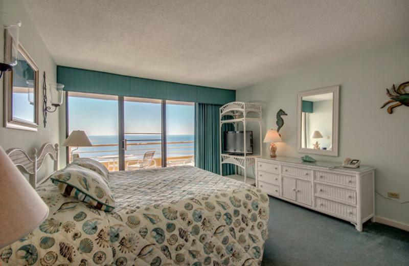 Rental bedroom at Ocean Creek Resort.