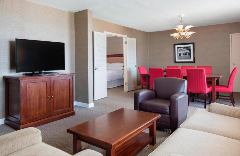 Guest room at Sheraton Harrisburg Hershey Hotel.