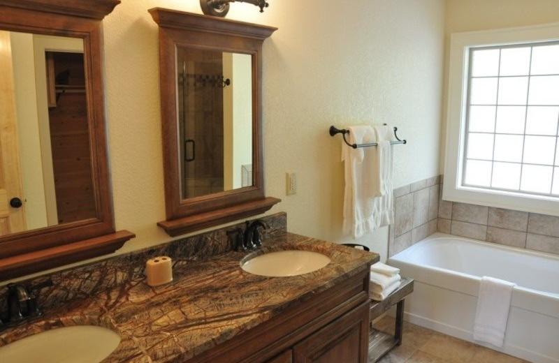Cabin bathroom at Great Smokys Cabin Rentals.