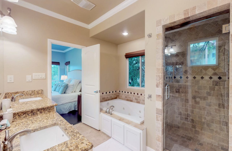 Rental bathroom at Still Waters Vacation Home.