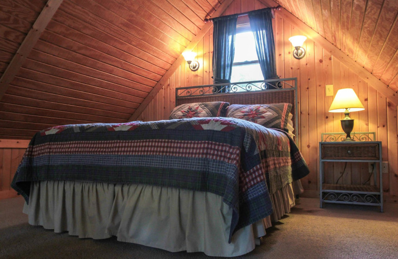Chalet bedroom at Old Man's Cave Chalets.