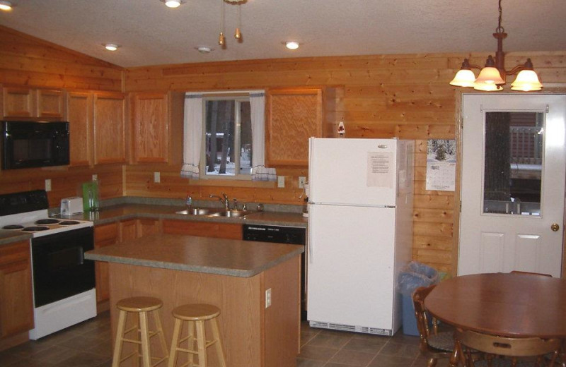 Cabin kitchen at Idle Hours Resort.