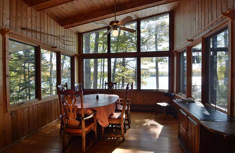 Cabin dining room at North Country Vacation Rentals.
