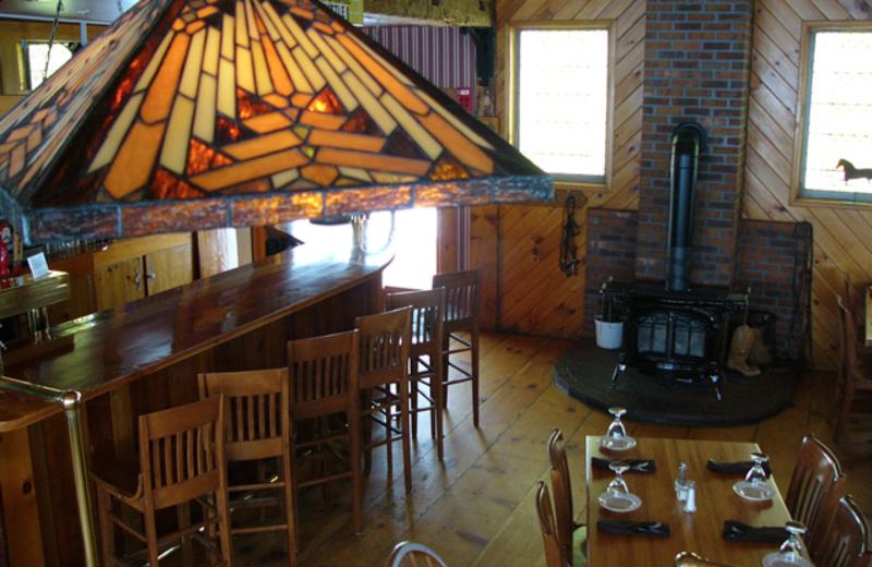 Restaurant interior at Three Stallion Inn.
