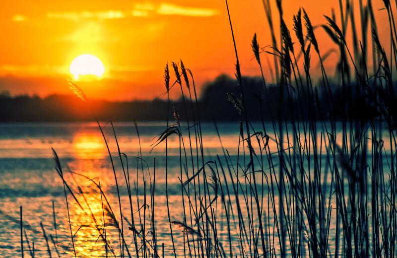 Sunset at River Bend's Resort & Walleye Inn.