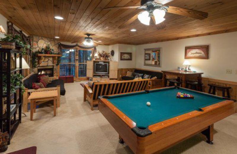 Cabin billiards table at Blue Sky Cabin Rentals.