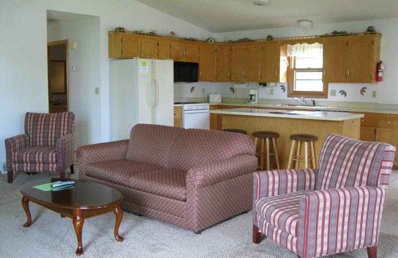 Lodge living room at Betsy Ross Resort.