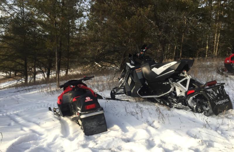 Snowmobiling at Black Lantern Resort and Retreat.