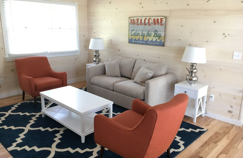 Cabin living room at Linekin Bay Resort.