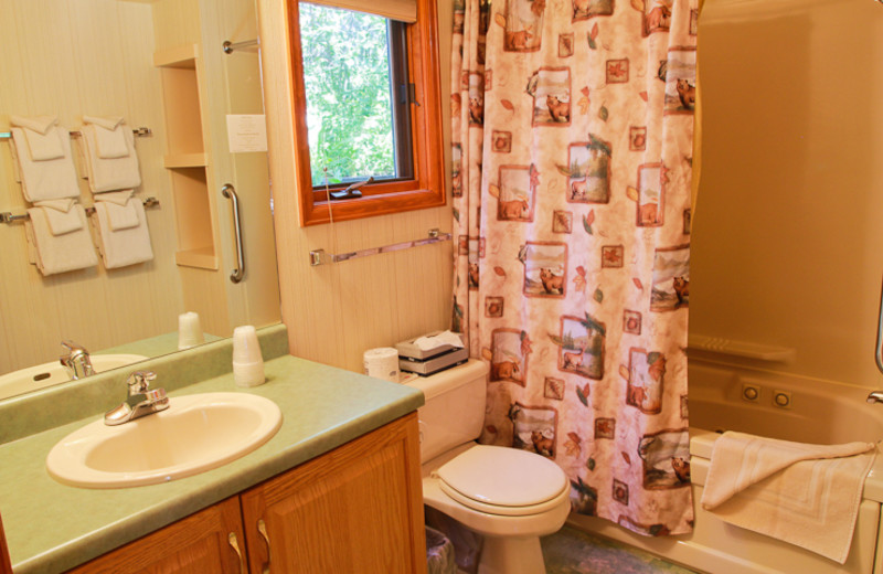 Guest bathroom at McGregor Mountain Lodge.
