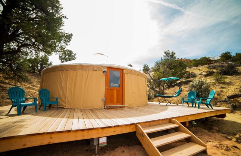 Exterior view of Escalante Yurts.