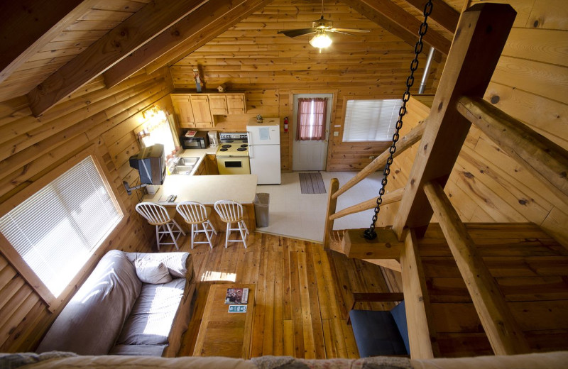 Cabin interior at Wickiup Village Cabins.
