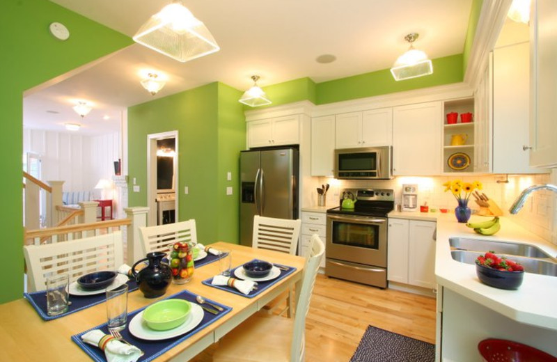 Vacation rental kitchen and dining at The Beach House.