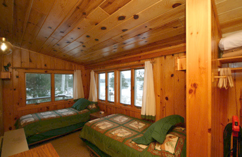 Cabin bedroom at Gunflint Lodge.