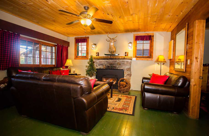 Cabin living room at White Lake Lodges.