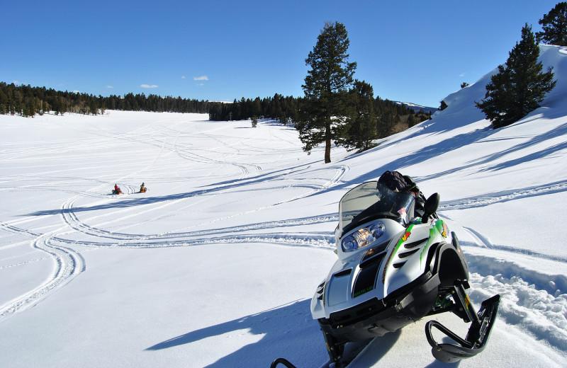 Snowmobiling at Arrowhead Mountain Lodge.