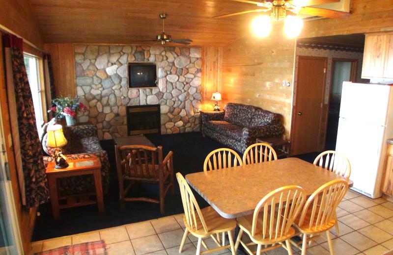Cabin interior view Gull Lake Resort.