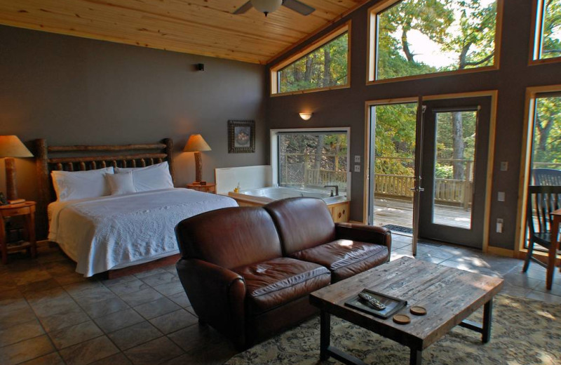 Cabin bedroom at Beaver Lakefront Cabins.
