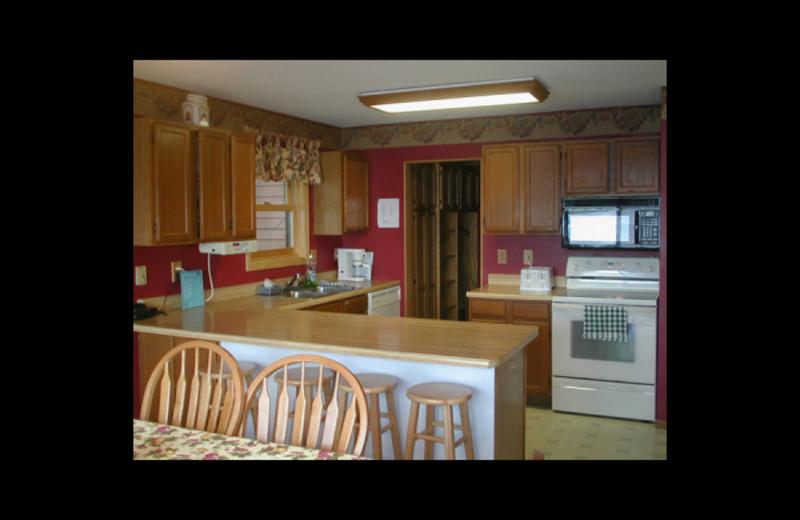 Cabin kitchen at Birch Bay Resort.