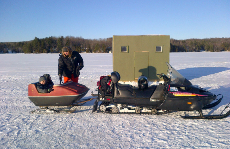 Ice fishing at Muskoka Shores Cottages.