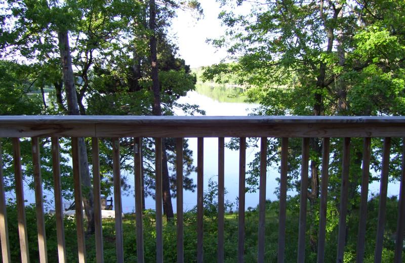 Cabin lake view at Shady Hollow Resort and Campground.