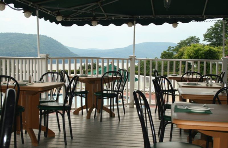 Outdoor dining at Inn on the Hudson.
