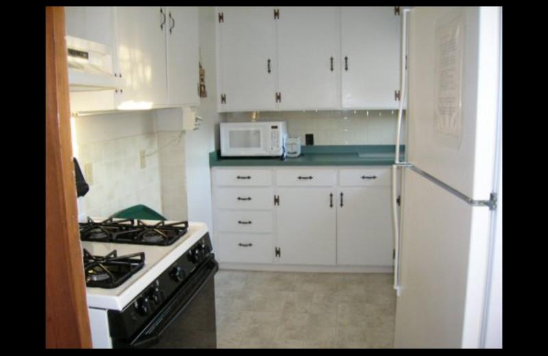 Cabin kitchen at Lighthouse Lodge Resort.