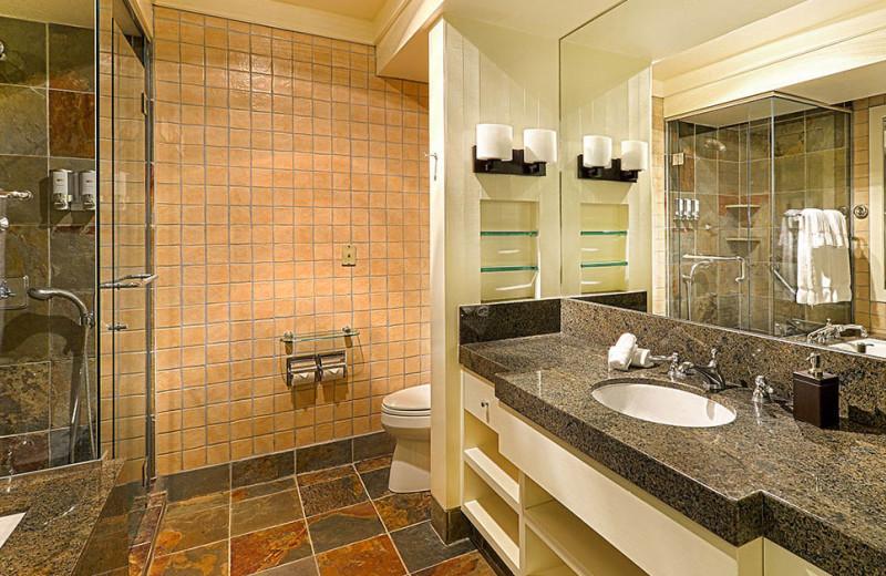 Guest bathroom at Quail Lodge Resort.