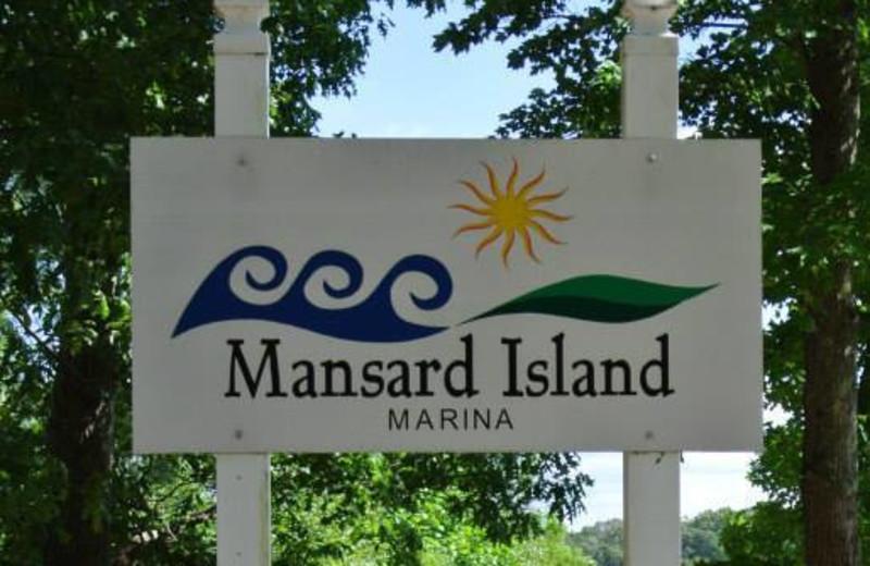 Welcome sign at Mansard Island Resort & Marina.