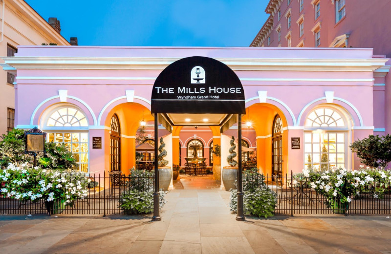 Exterior view of The Mills House Wyndham Grand Hotel.